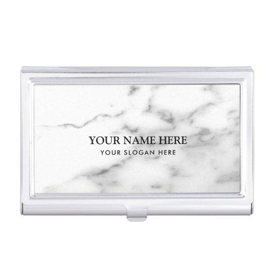 Nombre de compañía de piedra de mármol blanco caja de tarjetas de presentación