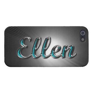 Nombre de Ellen en la turquesa y la plata impresas iPhone 5 Carcasas
