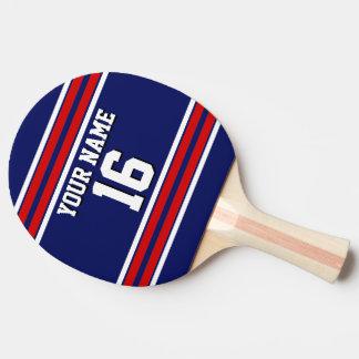 Nombre de encargo rojo del número del jersey de pala de ping pong
