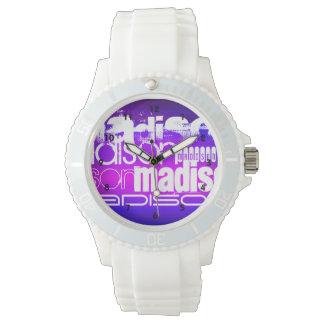 Nombre de encargo; Rosa, azul violeta, magenta, Reloj De Mano