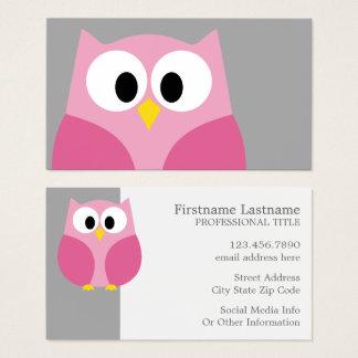 Nombre de encargo rosado y gris del búho lindo del tarjeta de visita