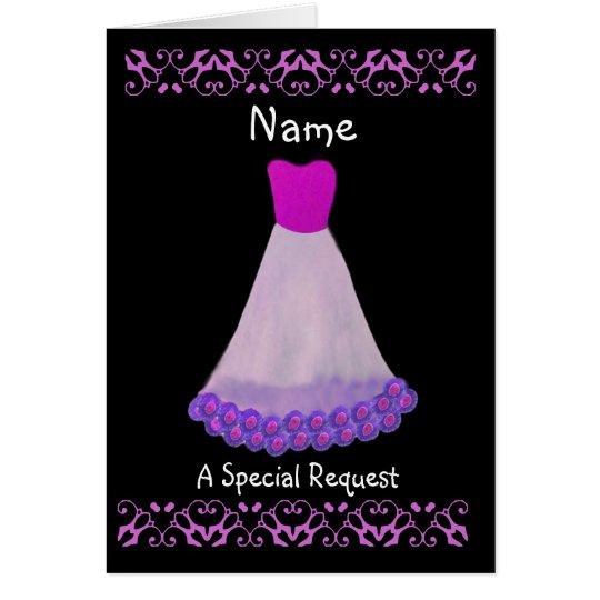 NOMBRE DE ENCARGO - vestido púrpura y blanco de la Tarjeta De Felicitación