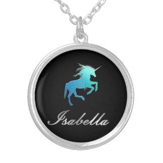 Nombre de Isabel - unicornio Collar Plateado