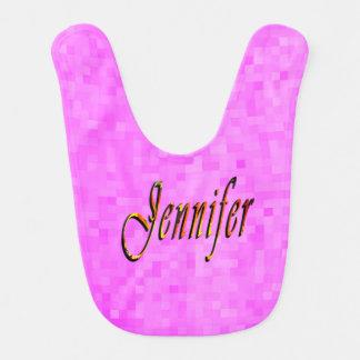 Nombre de Jennifer, babero rosado de las niñas del