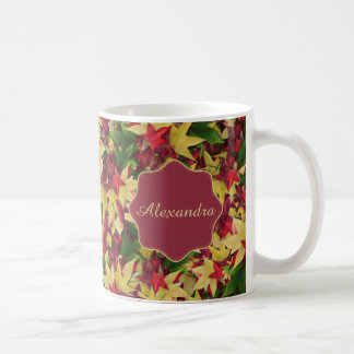 Nombre de las hojas de arce del otoño taza de café
