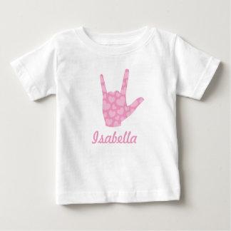 Nombre del chica de los corazones del rosa del camiseta de bebé