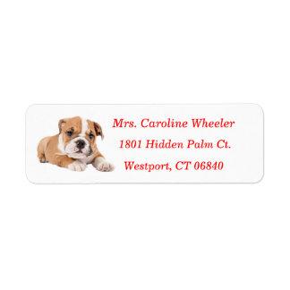 Nombre del rojo del remite del perro de perrito etiquetas de remite