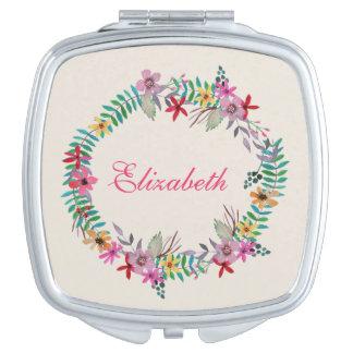 Nombre floral del personalizado de la guirnalda de espejos de viaje