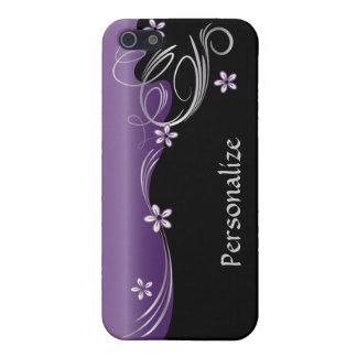 Nombre floral elegante de la amatista el | DIY del iPhone 5 Protectores