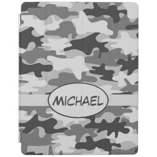 Nombre gris del camuflaje de Camo personalizado Cubierta De iPad