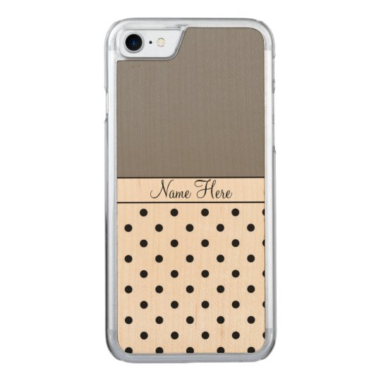 Nombre gris, lunares negros funda para iPhone 7 de carved