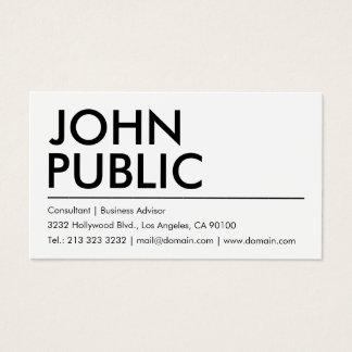 Nombre intrépido blanco llano simple tarjeta de visita
