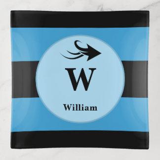 Nombre negro y azul del monograma para el dinero