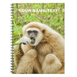 Nombre personalizado animal divertido del mono libro de apuntes con espiral