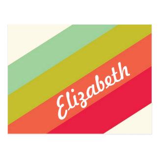 Nombre personalizado arco iris en colores pastel postal