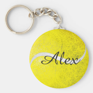 Nombre personalizado de la pelota de tenis llavero redondo tipo chapa