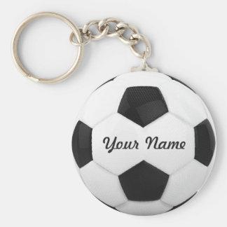 Nombre personalizado del balón de fútbol llavero redondo tipo chapa