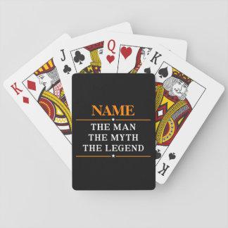 Nombre personalizado el hombre el mito la leyenda barajas de cartas