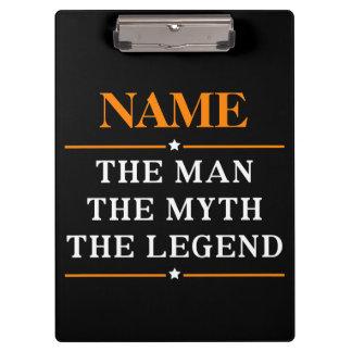 Nombre personalizado el hombre el mito la leyenda carpeta de pinza