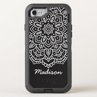Nombre personalizado flor blanco y negro de la funda OtterBox defender para iPhone 8/7