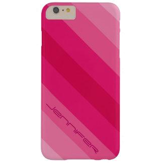 Nombre personalizado raya diagonal rosada moderna funda barely there iPhone 6 plus