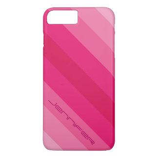 Nombre personalizado raya diagonal rosada moderna funda iPhone 7 plus