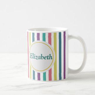 Nombre personalizado rayado taza de café