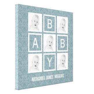 Nombre personalizado y fotos del bebé lona envuelta para galerías