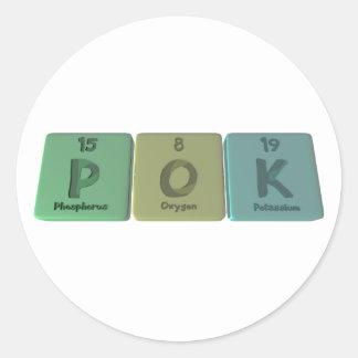 Nombre-Pok-P-o-k-fósfoRo-oxígeno-Potasio Etiquetas Redondas