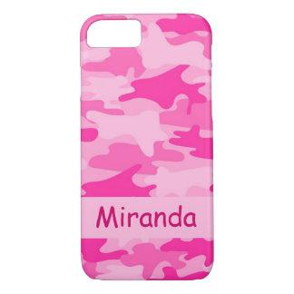 Nombre rosado del camuflaje de Camo personalizado Funda iPhone 7