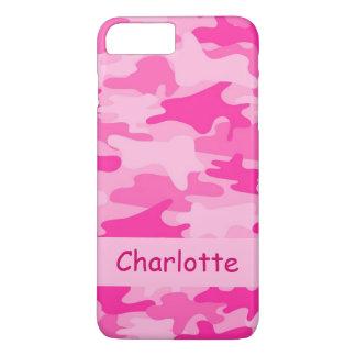 Nombre rosado del camuflaje de Camo personalizado Funda iPhone 7 Plus