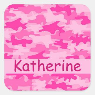 Nombre rosado del camuflaje de Camo personalizado Pegatina Cuadrada
