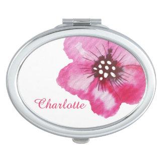 Nombre rosado romántico del personalizado de la espejos maquillaje