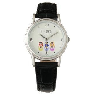 Nombre ruso de las muñecas del matryoshka reloj de pulsera