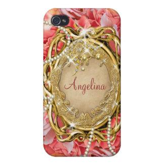 Nombre subió vintage de la chispa de las perlas iPhone 4 protectores