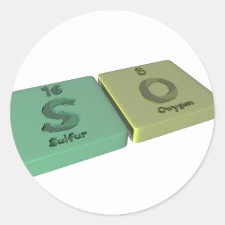 Nombre-Tan-S-O-azufre-Oxígeno Etiquetas Redondas