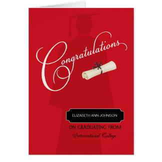 Nombre y escuela de la enhorabuena de la tarjeta