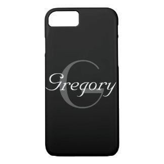 Nombre y inicial grises y blancos del monograma en funda iPhone 7