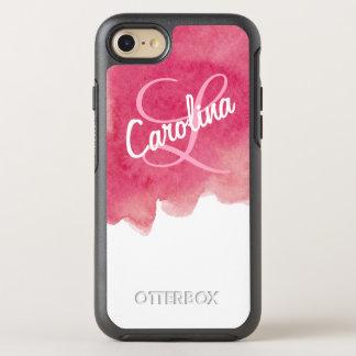 Nombre y monograma personalizados pintura rosada funda OtterBox symmetry para iPhone 7