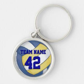 Nombre y número del equipo del voleibol llavero redondo plateado