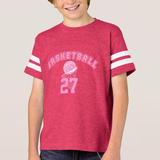 Nombre y número rosados del baloncesto el | DIY Camiseta