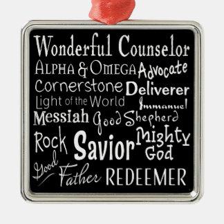 Nombres de dios de la biblia en blanco y negro adorno navideño cuadrado de metal