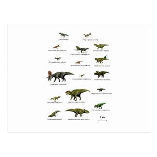 Nombres de los dinosaurios postal
