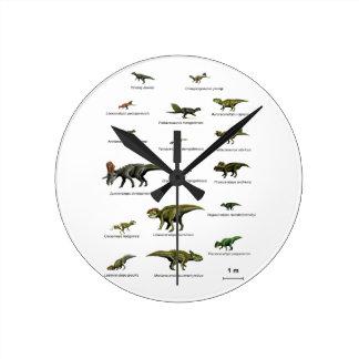 Nombres de los dinosaurios reloj redondo mediano