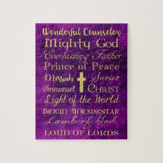 Nombres del rompecabezas de la púrpura de Jesús
