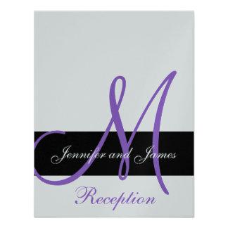 Nombres púrpuras del monograma de la recepción nup invitación personalizada