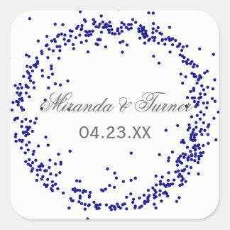 Nombres y fecha azules - pegatina cuadrado del