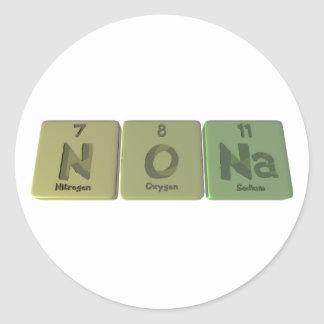 Nona como sodio del oxígeno del nitrógeno etiqueta redonda