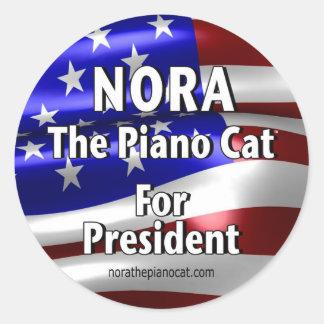 Nora para el presidente #2 pegatina redonda