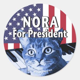 Nora para el presidente #4 pegatina redonda